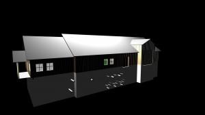 3D-tegning av bygg med rørgjennomføringer